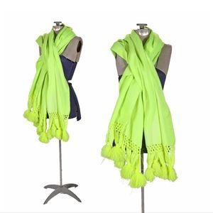 1970s  Neon Green Shoulder Wrap Pom Pom Shawl